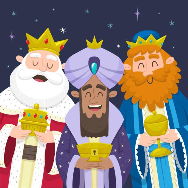 ilustrações de stock, clip art, desenhos animados e ícones de the three wise men smiling - reis magos