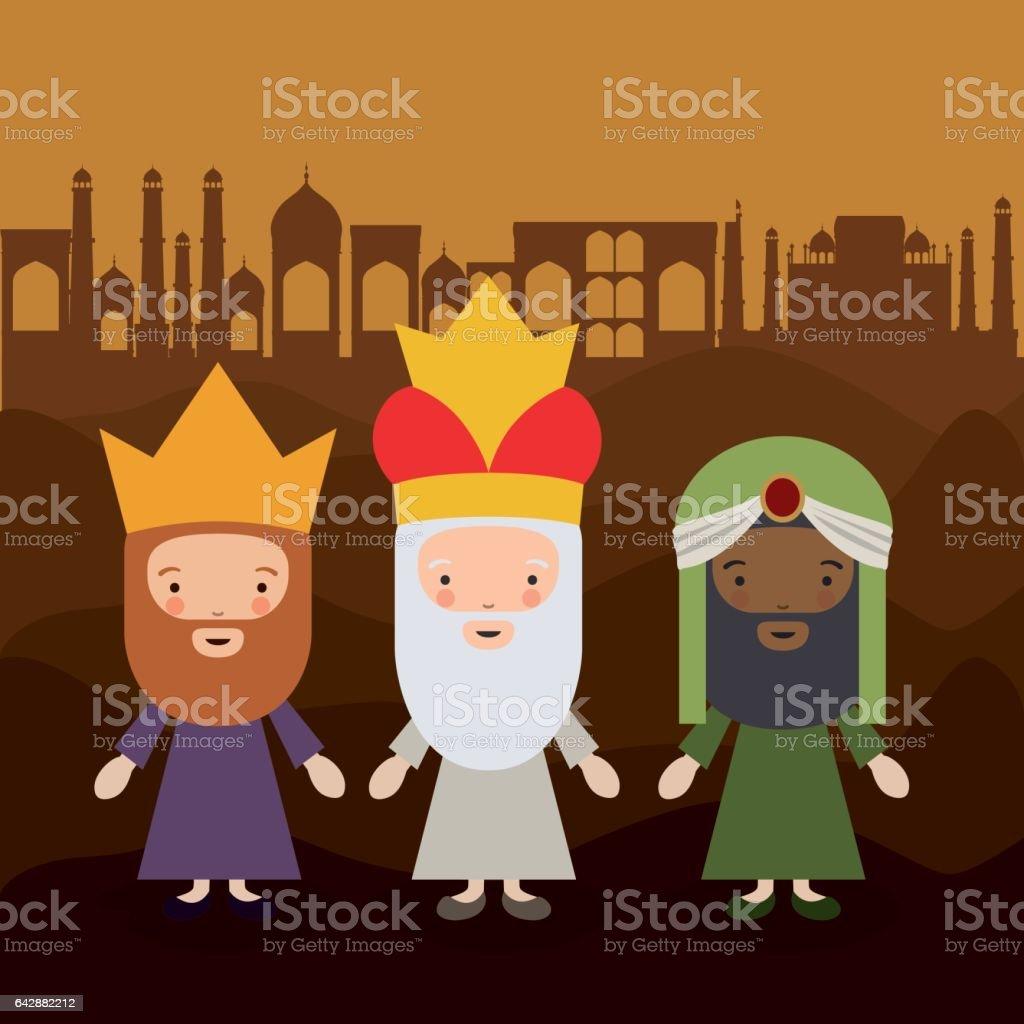 Ilustración De El Diseño De Dibujos Animados De Tres Reyes Magos Y