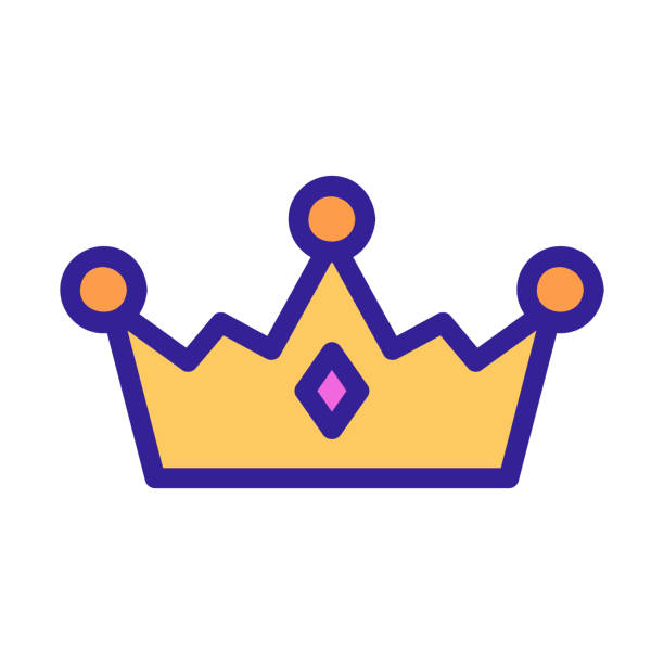 the tiara of the queen icon vector. Isolated contour symbol illustration the tiara of the queen icon vector. A thin line sign. Isolated contour symbol illustration diademe stock illustrations