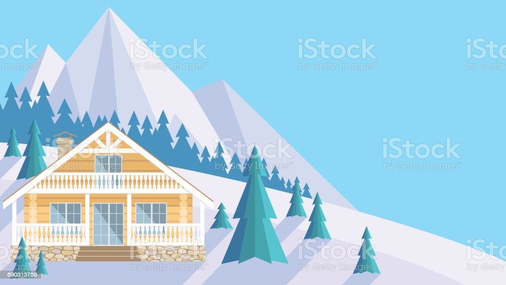 the timber house vector art illustration