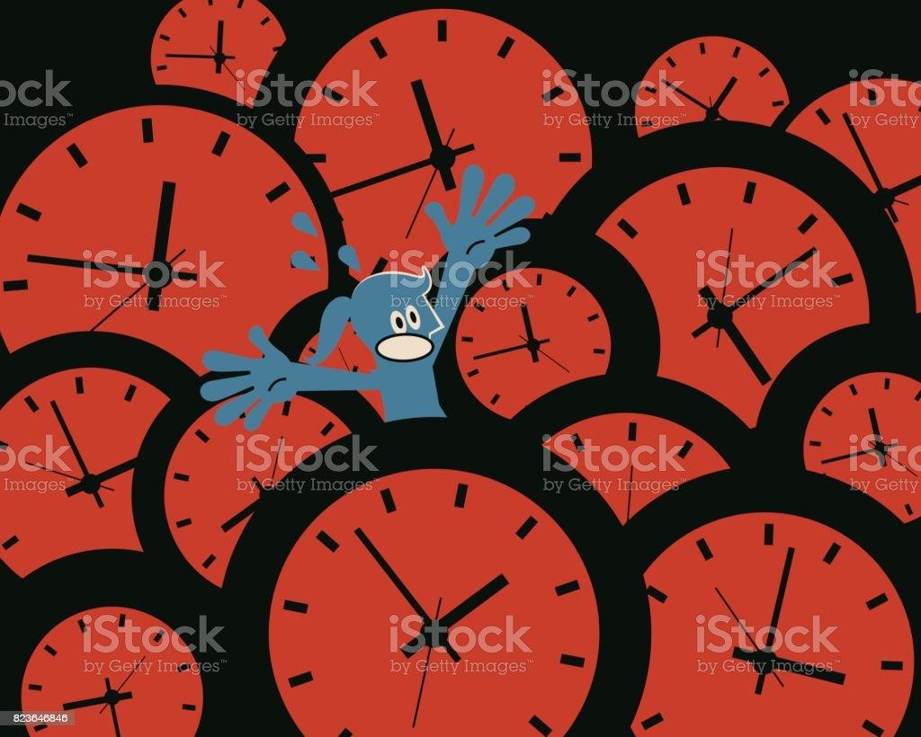 La presión del tiempo. Empresaria (mujer, muchacha) ahogamiento en un montón de relojes de fichar. Concepto sobre la juventud se desvanece; falta de gestión de tiempo - ilustración de arte vectorial