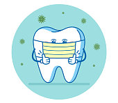 istock The tooth using surgical mask for preventing the spread of COVID-19 or Coronavirus. Dental illustration or sign for informing patients. 1216375158