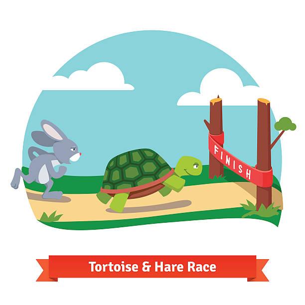 die kreuzung aus schildkröte und hase racing zusammen, um zu gewinnen - kaninchenbau stock-grafiken, -clipart, -cartoons und -symbole