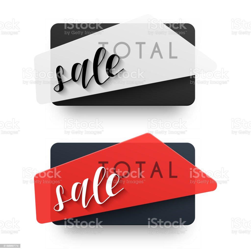 The total sales. Emblem sale. Black Label vector art illustration