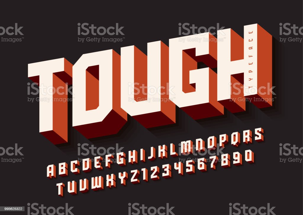 The Tough bold display font design, alphabet, typeface, letters vector art illustration