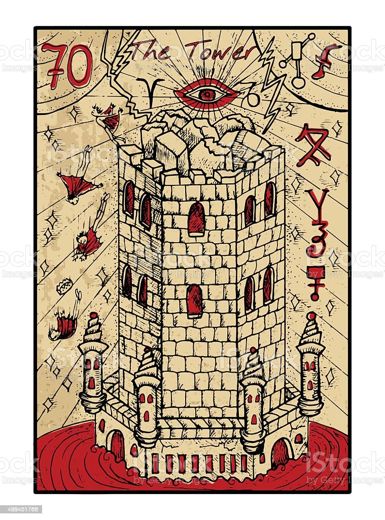 The Tower. The tarot card in color vector art illustration