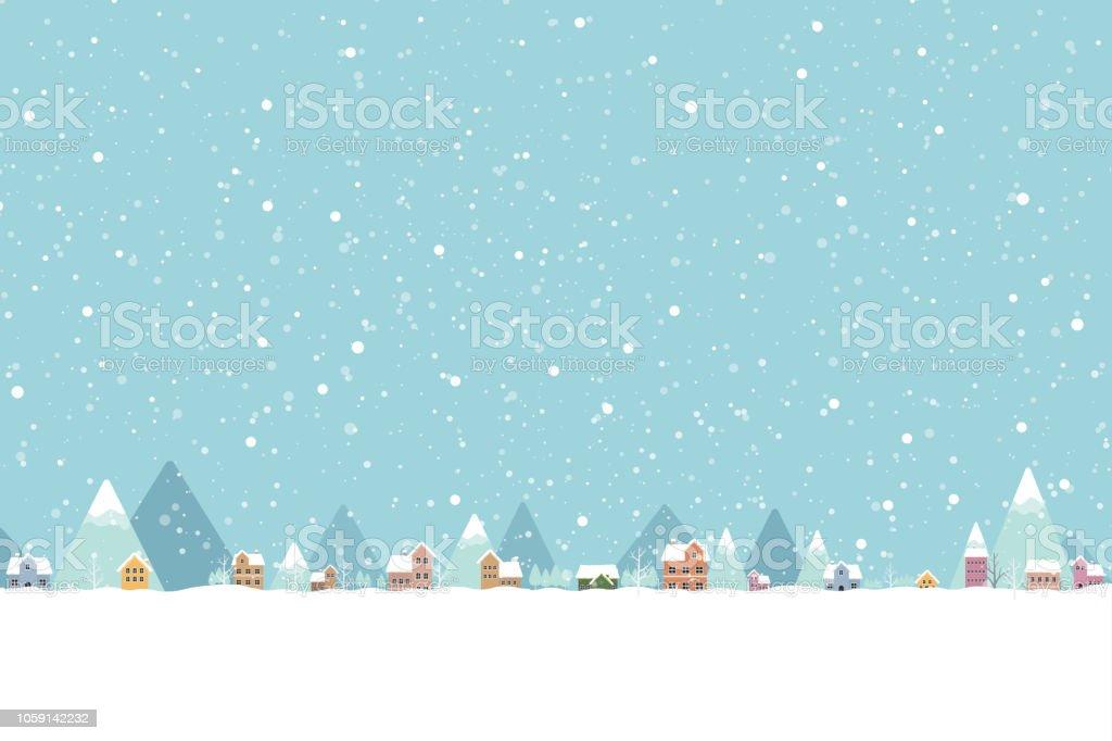 La città nella neve cade luogo colore piatto 001 - arte vettoriale royalty-free di Albero
