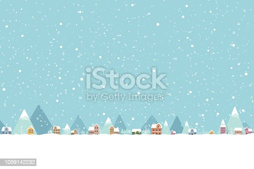 istock The town in the snow falling place flat color 001 1059142232