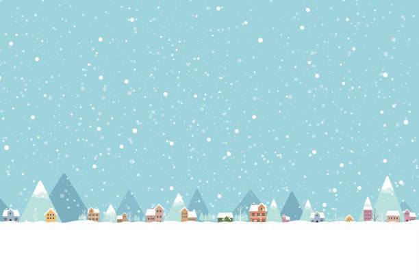 ilustrações, clipart, desenhos animados e ícones de a cidade no lugar de queda de neve liso cor 001 - inverno