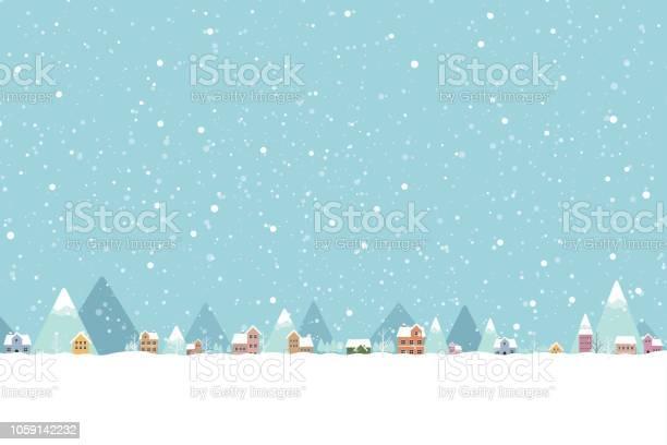 La Città Nella Neve Cade Luogo Colore Piatto 001 - Immagini vettoriali stock e altre immagini di Albero