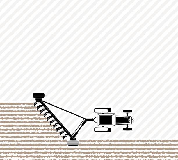 der traktor pflügt das feld vor der aussaat. frühling oder herbst feldarbeit. mitarbeit am hof. - aerial overview soil stock-grafiken, -clipart, -cartoons und -symbole