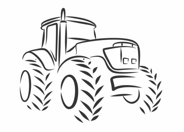 illustrazioni stock, clip art, cartoni animati e icone di tendenza di the tractor sketch. - trattore