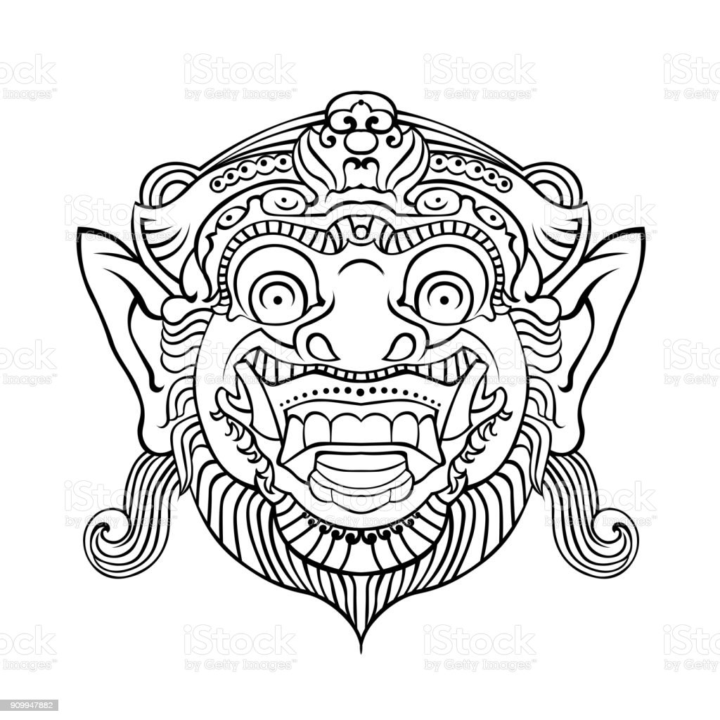 The traditional Balinese mask of the terrible mythical defender vector art illustration