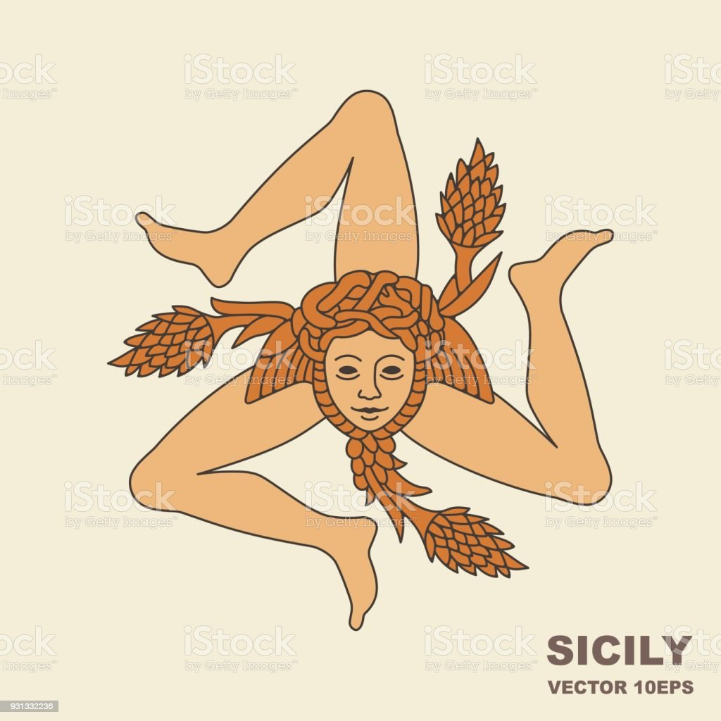 The traditional heraldic symbol of Sicily vector art illustration