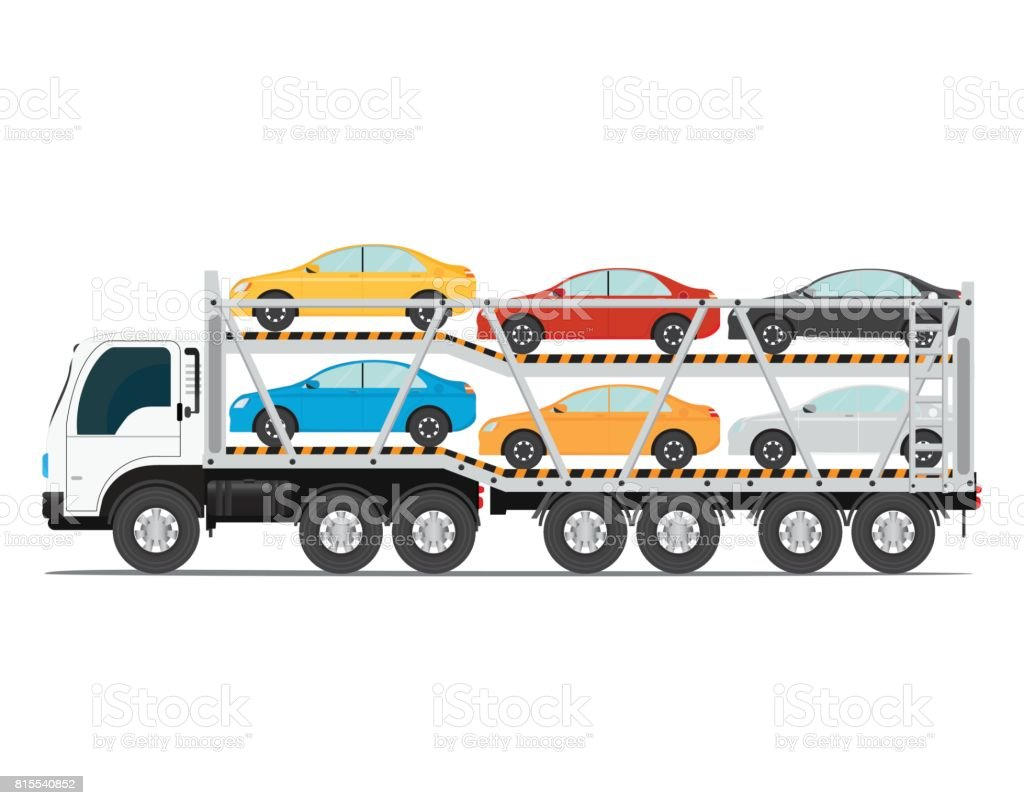 The trailer transports cars with new auto. vector art illustration