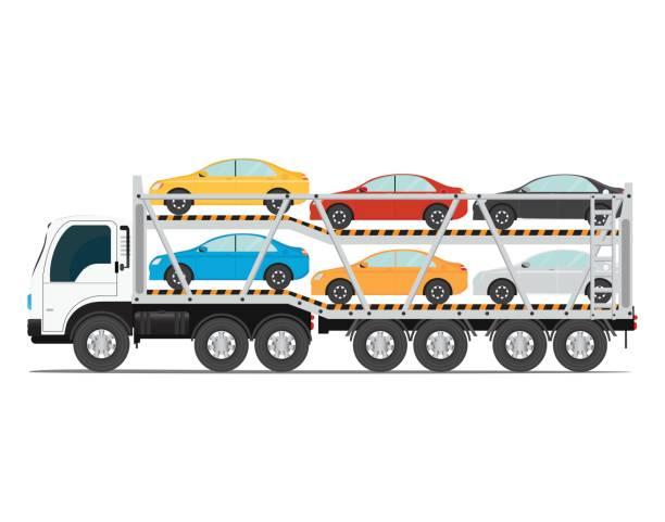 der trailer transportiert autos mit neuen auto. - autotransporter stock-grafiken, -clipart, -cartoons und -symbole