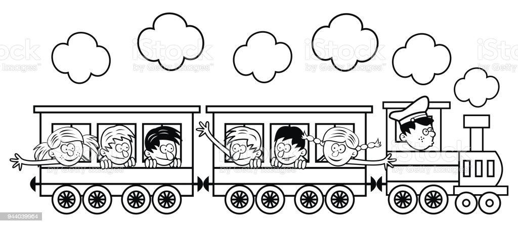 Ilustración de El Tren Con Los Niños Es Ir En Un Viaje Ilustración ...