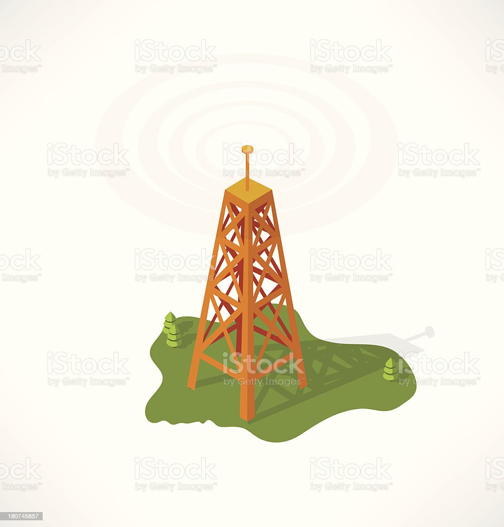 The transmission tower. Isometric building. royalty-free stock vector art