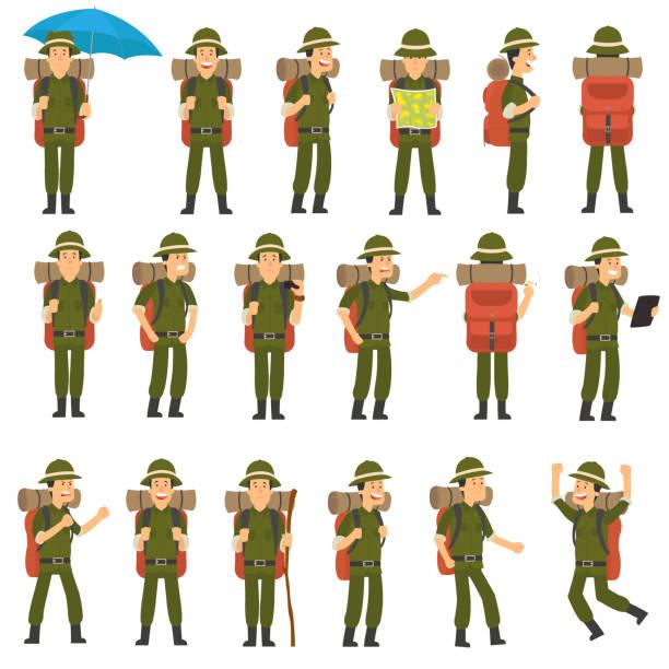 ilustrações, clipart, desenhos animados e ícones de o viajante em poses diferentes ajustadas. - explorador