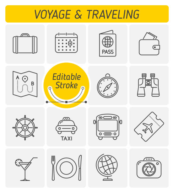 the traveling and voyage outline vector icon set. - holiday calendars stock illustrations