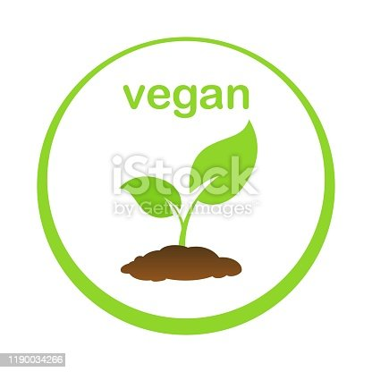 istock The tree that grows from seed is a big tree with green color and the seedlings grow into a big tree. Green Vegan Product Vector illustration 1190034266