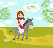 istock The triumphant entry of our Lord Jesus Christ to Jerusalem as Palm Sunday, a week before Easter Sunday. 1215274451