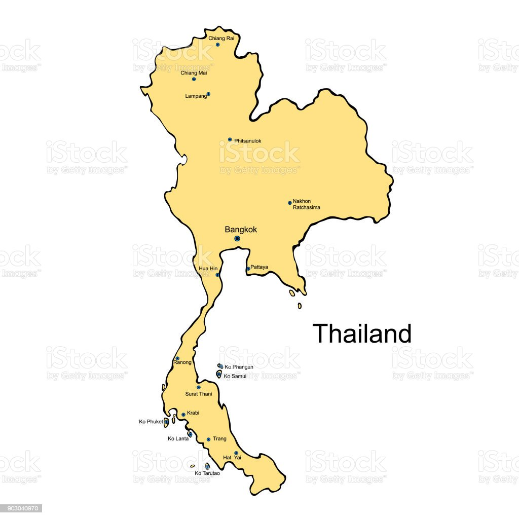 The Tropical Country Thailand Map Vector Illustration Stock Vector - Thailand map