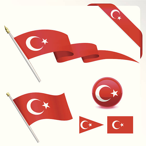 The Turkish flag in an assortment of shapes and sizes vector art illustration