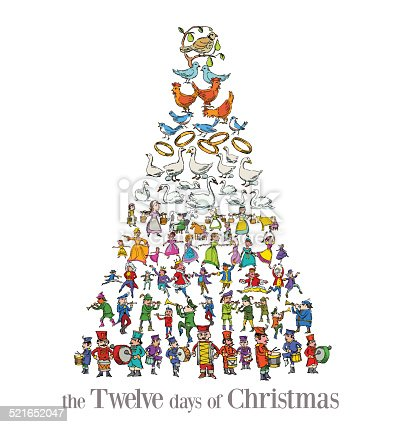 The Twelve Days Of Christmas Greeting Card Stock Vector ...