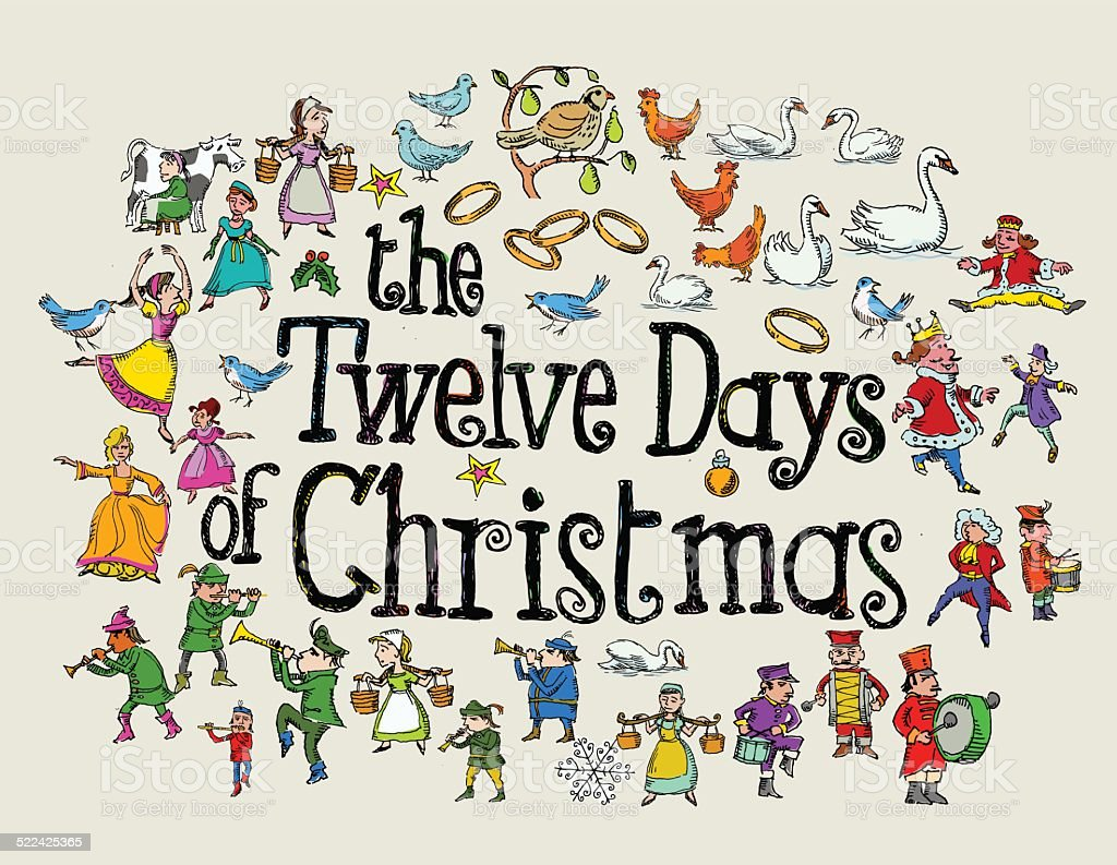The Twelve Days of Christmas Greeting vector art illustration