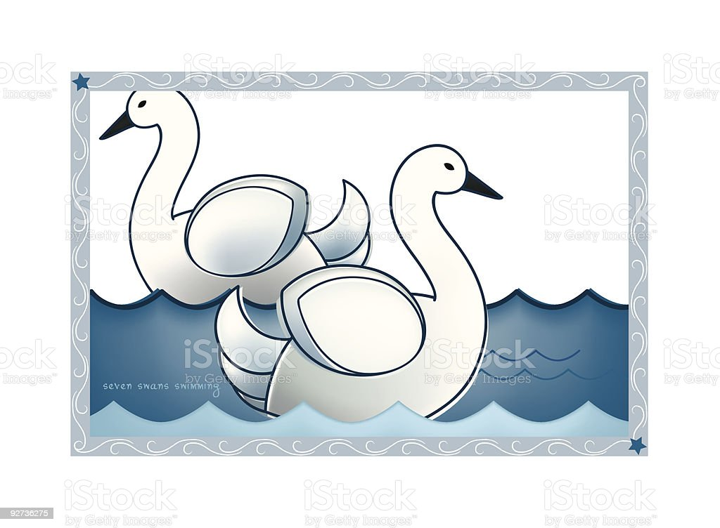 The Twelve Days of Christmas Postcard Vector Series Seven Swans a Swimming. Aquatic Organism stock vector