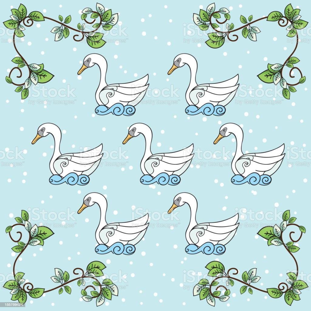 The Twelve days Of Christmas Series. Seven Swans a Swimming royalty-free stock vector art