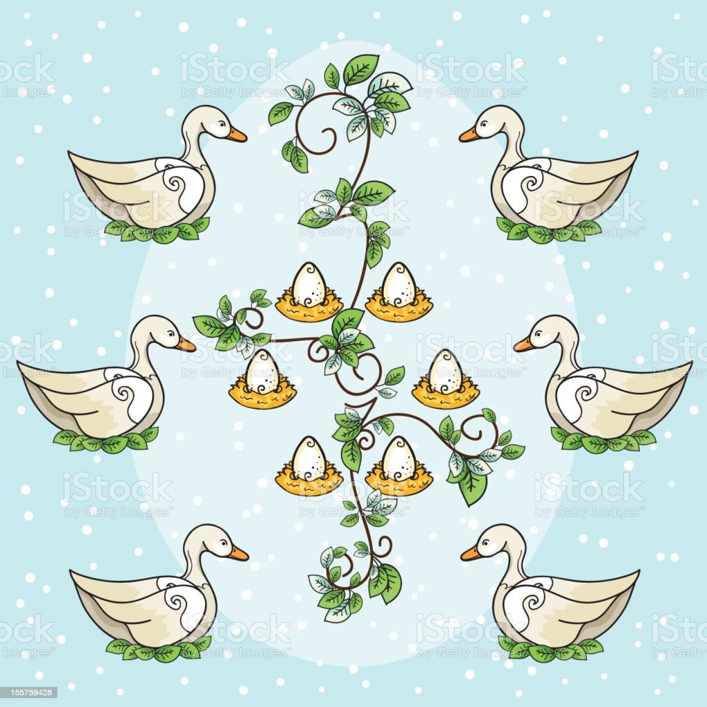 The Twelve days Of Christmas Series. Six Geese A Laying vector art illustration