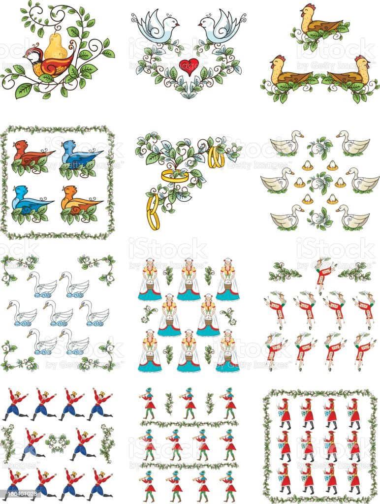 The Twelve days Of Christmas Set - Illustration royalty-free stock vector art