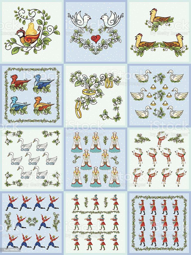 The Twelve days Of Christmas Set vector art illustration