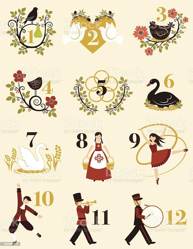 The Twelve Days Of Christmas vector art illustration