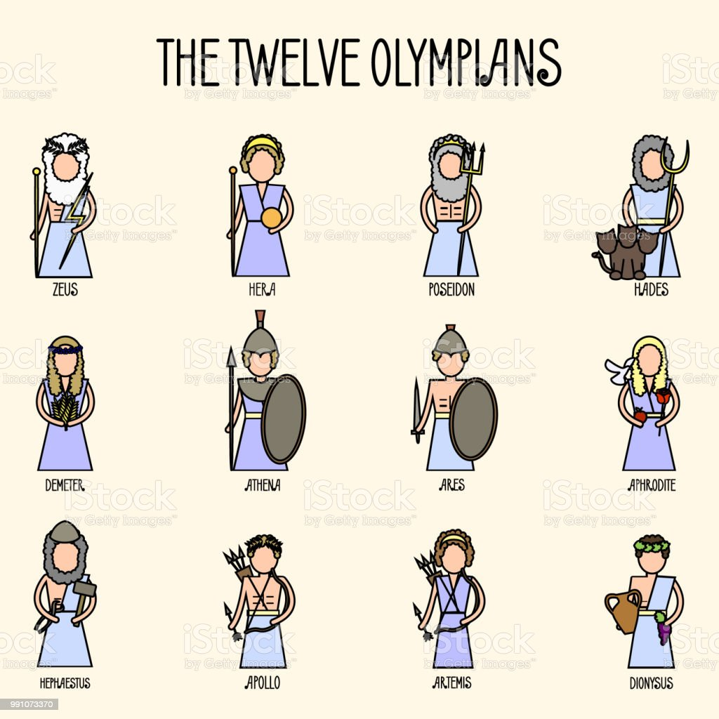 The Twelve Olympians icons set vector art illustration