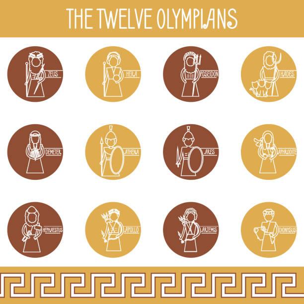 The Twelve Olympians icons set The Twelve Olympians icons set. Greek pantheon artemis stock illustrations