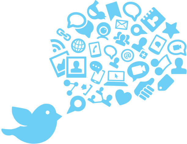 the twitter bird icon and social media graphics - twitter 幅插畫檔、美工圖案、卡通及圖標