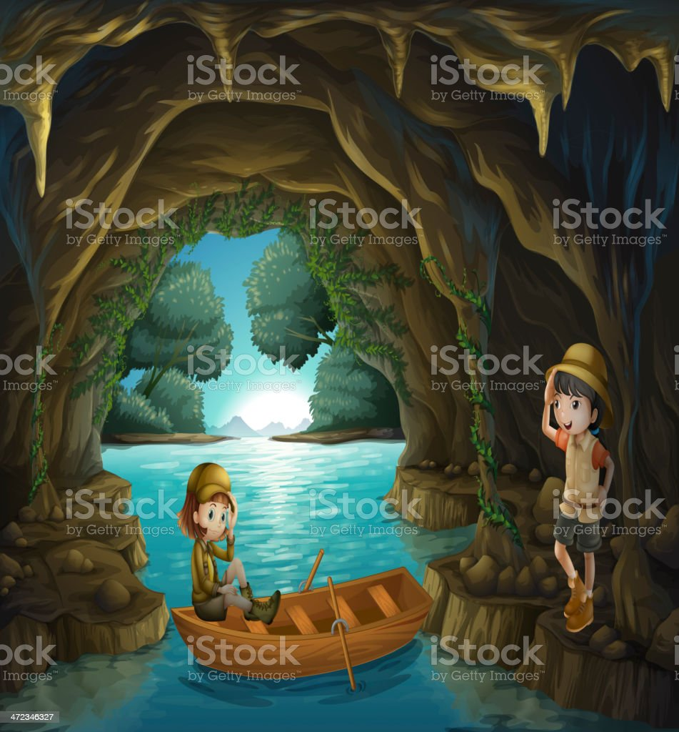 The two brave girls at  cave royalty-free stock vector art