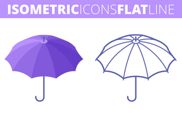 The umbrella. Isometric, 3d flat and outline icon set. vector art illustration
