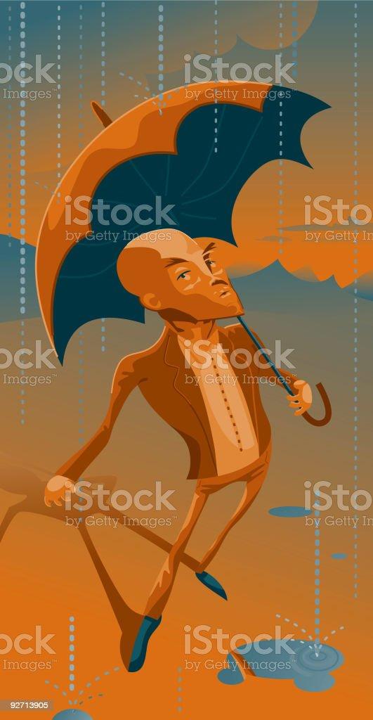 The Umbrella Man royalty-free stock vector art
