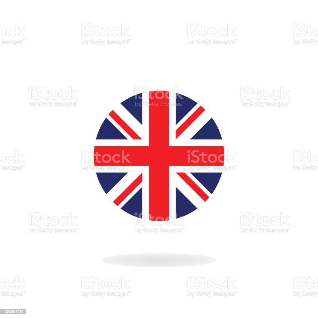 A Union Jack em forma de círculo. Ícone de vetor. Bandeira nacional do Reino Unido - ilustração de arte em vetor