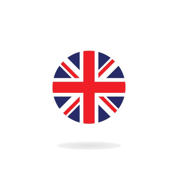 illustrations, cliparts, dessins animés et icônes de l'union jack en forme de cercle. icône de vecteur. drapeau national du royaume-uni - drapeau du royaume uni
