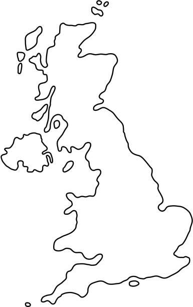 ilustrações, clipart, desenhos animados e ícones de o reino unido da grã grã-bretanha e da irlanda do norte mapa de curvas de contorno pretos de ilustração vetorial - reino unido