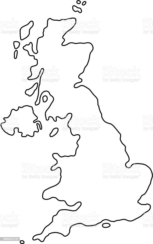 The United Kingdom of Great Britain and Northern Ireland map of black contour curves of vector illustration vector art illustration