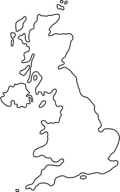 the united kingdom of great britain and northern ireland map of black contour curves of vector illustration - zjednoczone królestwo stock illustrations