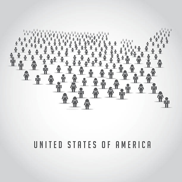 the United States made up of a crowd of people vector art illustration