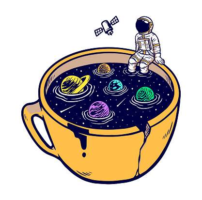The universe in my cup vector illustration