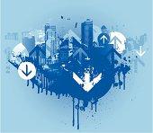 Blue grunge city scene with arrows
